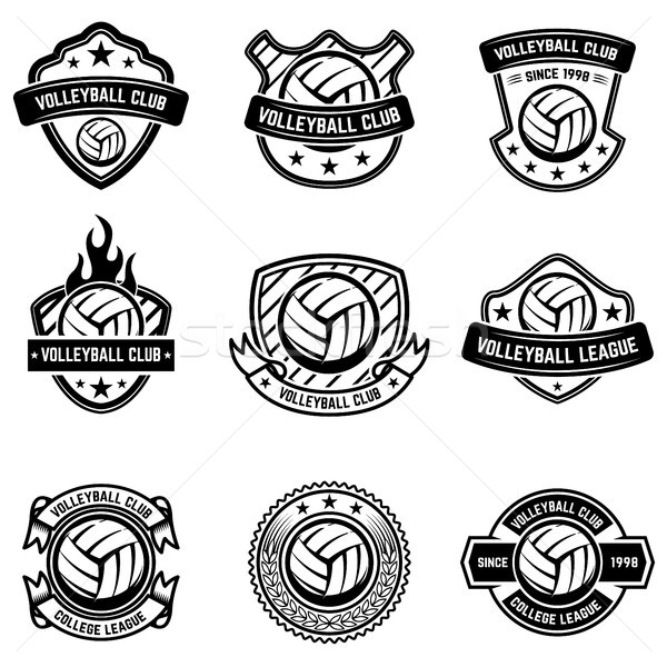Volleyball emblems on white background. Design element for logo, label, emblem, sign, badge.  Stock photo © masay256