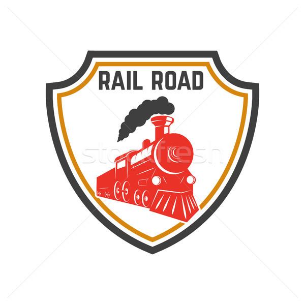 Embléma sablon retro vonat sín út Stock fotó © masay256