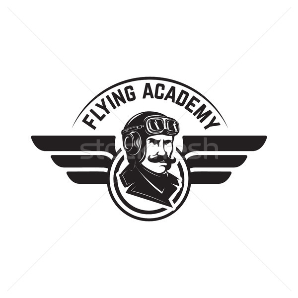 Aviation training center emblem template with retro airplane. Design element for logo, label, emblem Stock photo © masay256