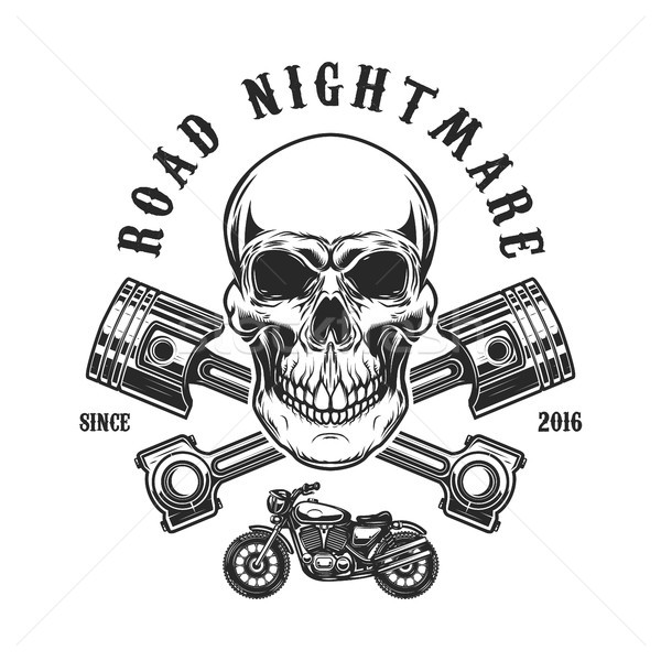 Road nightmare. Human skull with crossed pistons. Design element for logo, label, emblem, sign, t sh Stock photo © masay256