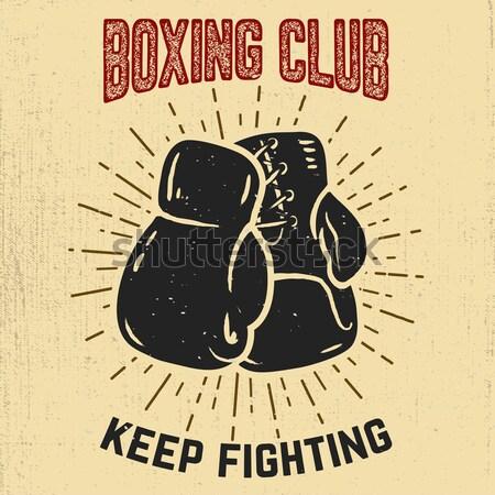 Boksen club embleem twee bokshandschoenen grunge Stockfoto © masay256
