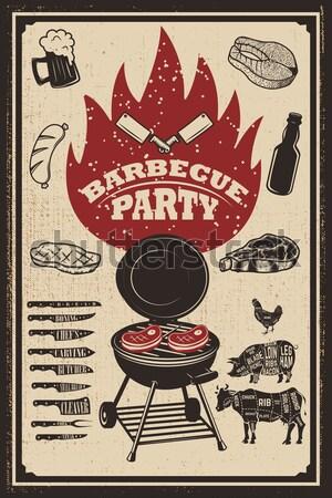 Bbq partij vintage flyer grunge grill Stockfoto © masay256