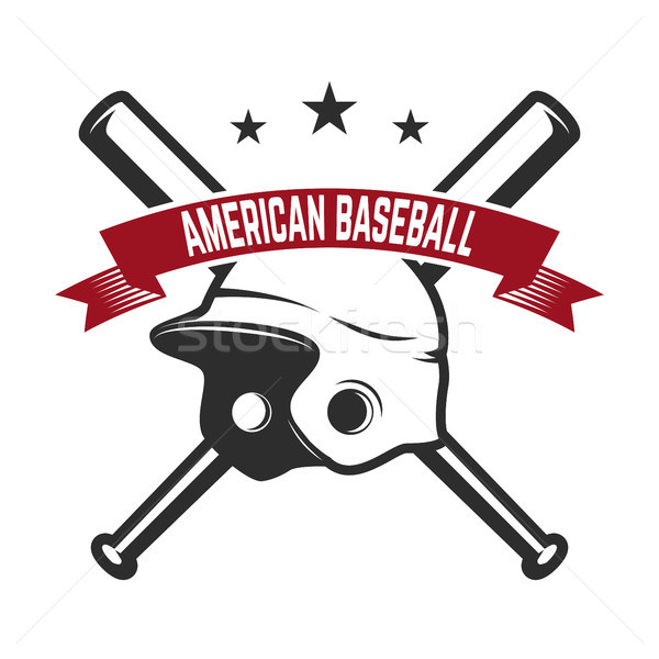 Emblem with crossed baseball bat and baseball glove. Design element for logo, label, emblem, sign, b Stock photo © masay256