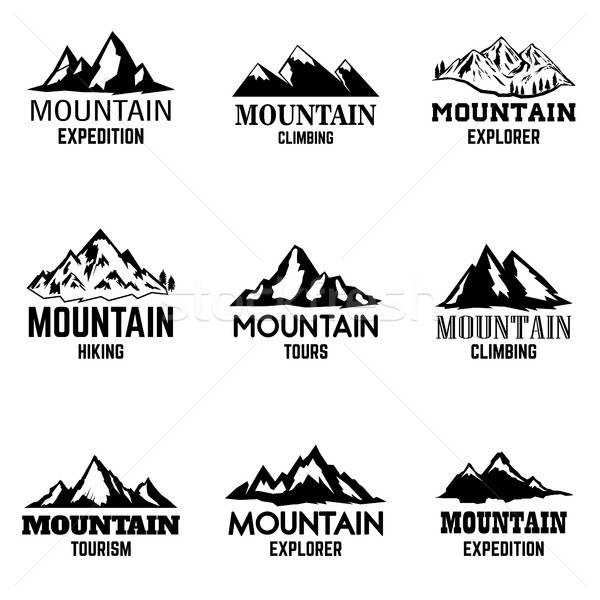 Set of mountain icons isolated on light background. Design elements for logo, label, emblem, sign.  Stock photo © masay256