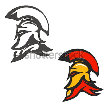 Set of emblems with  Spartan helmet . Design element for logo, l Stock photo © masay256