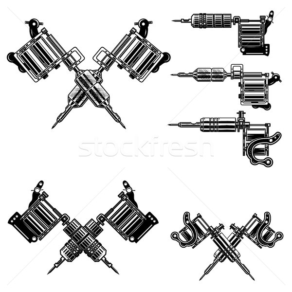 Set of tattoo machine illustrations. Design elements for tattoo studio decoration, logo, label, embl Stock photo © masay256