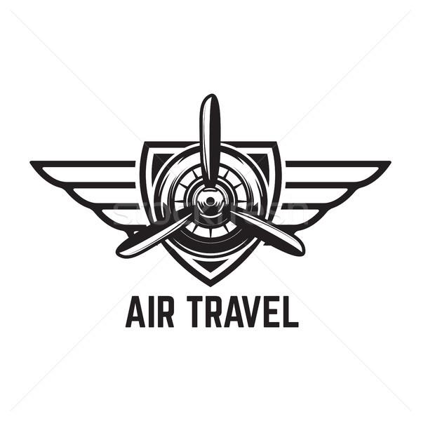 Luchtvaart opleiding centrum embleem sjabloon retro Stockfoto © masay256
