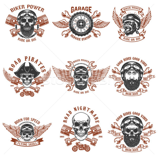 Set of biker emblems. Racer skull with crossed pistons. Extreme motorsport. Design elements for logo Stock photo © masay256