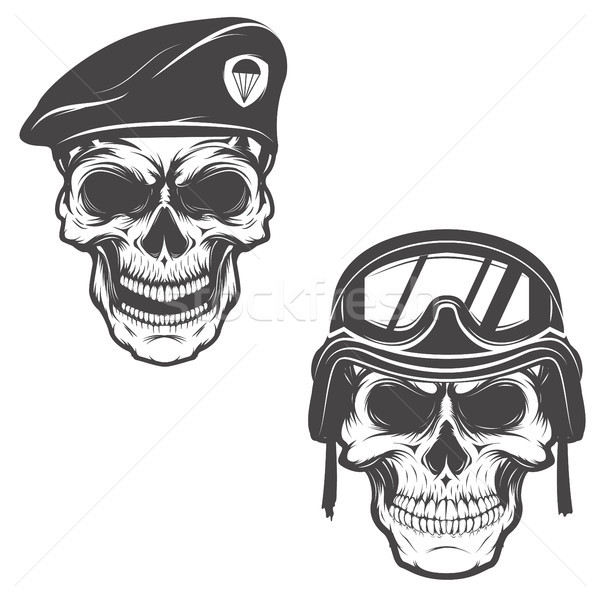 military skulls. Skull in paratrooper beret. Skull in soldier he Stock photo © masay256