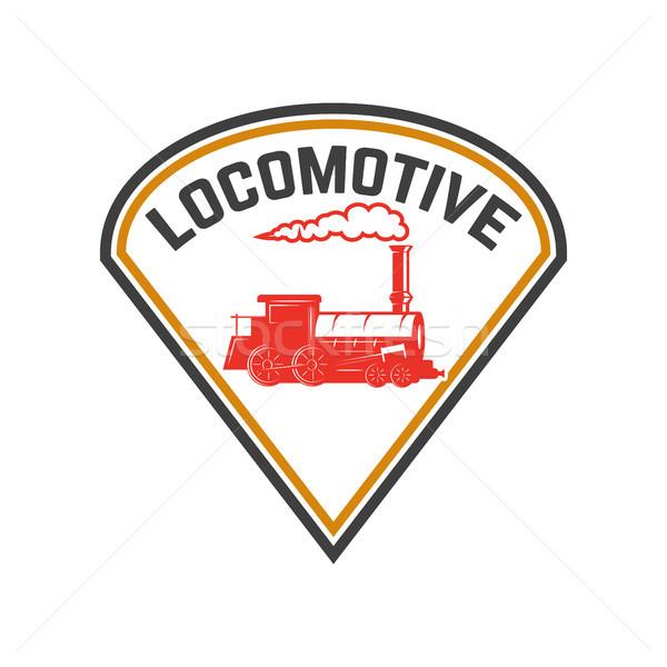 Emblem template with retro train. Rail road. Locomotive. Design element for logo, label, emblem, sig Stock photo © masay256