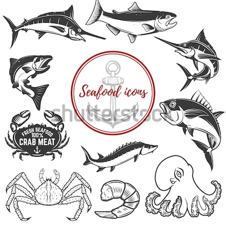 set of Fishing labels design elements. Rods and  fish icons. Des Stock photo © masay256