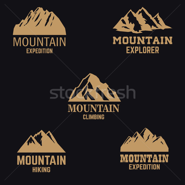 Establecer montana iconos dorado estilo aislado Foto stock © masay256