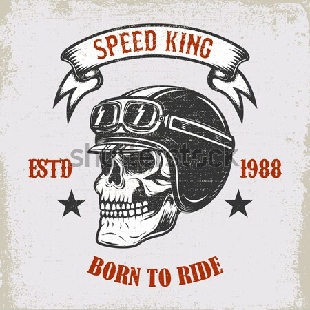 Lucky riders. Street racing club. Skull in racer helmet. Design  Stock photo © masay256