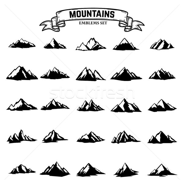 Big set of mountains icons isolated on white background. Design elements for logo, label, emblem, si Stock photo © masay256