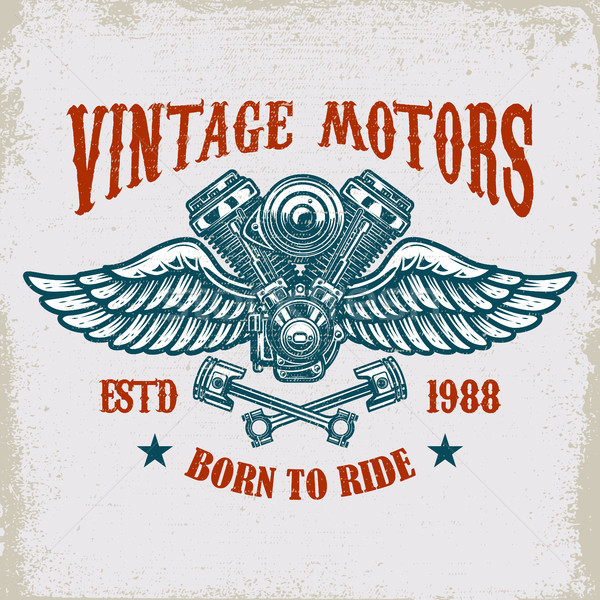 Vintage winged motor on grunge background. Design element for poster, card, t shirt, banner, emblem. Stock photo © masay256
