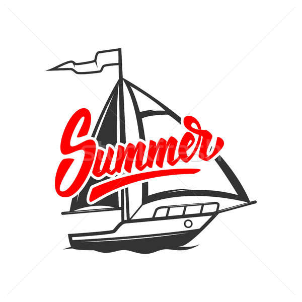 Sommer Ausdruck Yacht Illustration Plakat Stock foto © masay256