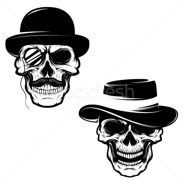 Set of Skulls in hat and monocle. Design element for logo, label Stock photo © masay256