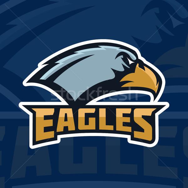 Eagles  emblem template with eagle head  sport team mascot