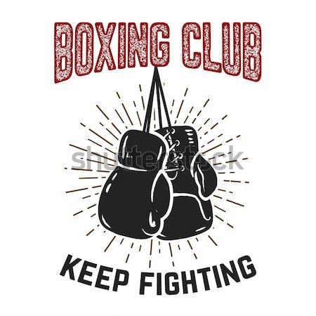 Box klub embléma kettő boxkesztyűk grunge Stock fotó © masay256