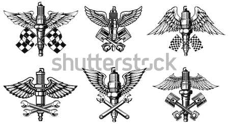 Establecer medieval espada alas logo Foto stock © masay256