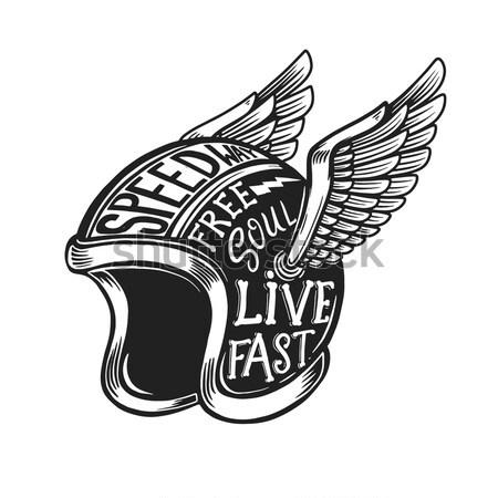 Fırıncı kask kanatlar logo etiket Stok fotoğraf © masay256