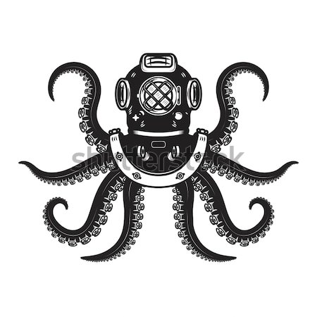 Vintage style diver helmet with octopus tentacles Stock photo © masay256