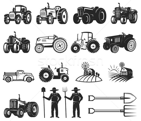 Set of farmers market design elements. Tractor icons. Design elements for logo, label, emblem, sign, Stock photo © masay256