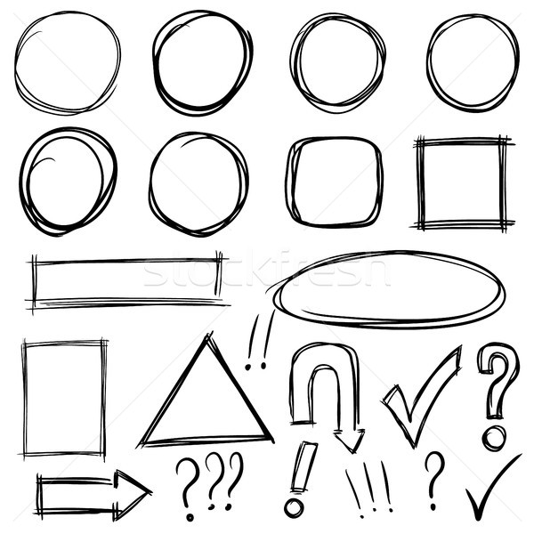 Set of hand drawn arrows, signs, squares, circles. Design elements for poster, flyer, banner.  Stock photo © masay256