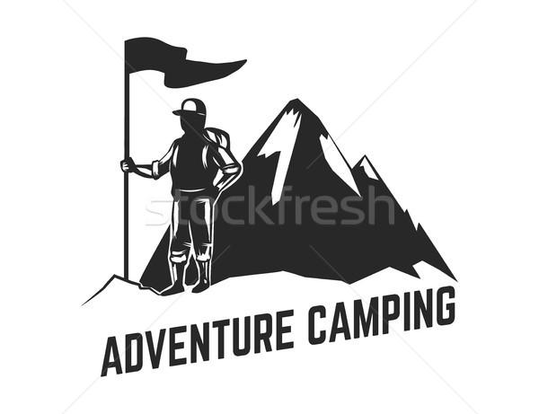 Berg kamp embleem sjabloon logo Stockfoto © masay256