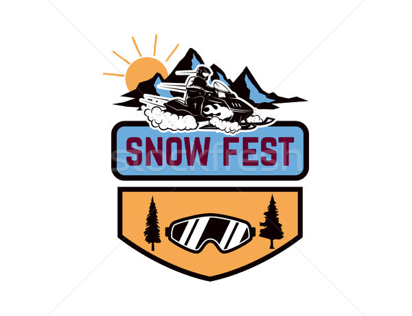 Offroad extreme adventure. Emblem template with snowmobile. Design element for logo, label, emblem,  Stock photo © masay256