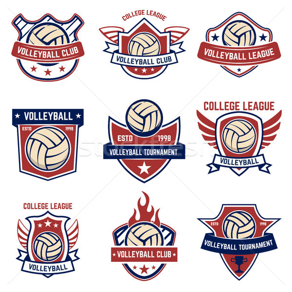 Volleybal witte logo label embleem Stockfoto © masay256