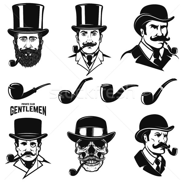 Set of gentleman's head with smoking pipes. Design elements for logo, label, emblem, sign.  Stock photo © masay256