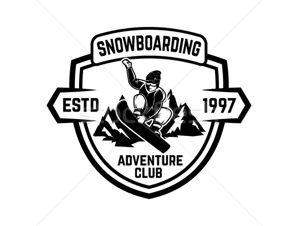 Snowboarden embleem logo label Stockfoto © masay256