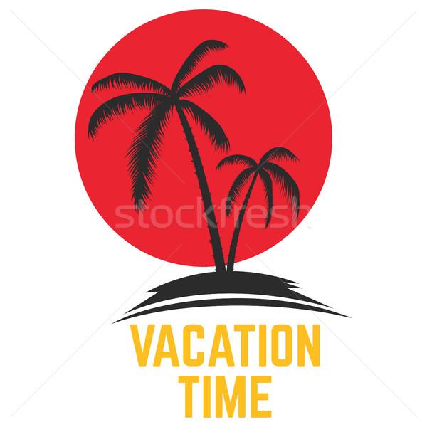 Tatil zaman ifade palmiye ikon Stok fotoğraf © masay256