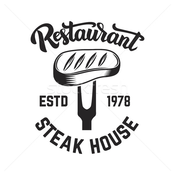 Steak house. Cutted meat and crossed meat cleavers. Design element for logo, label, emblem.  Stock photo © masay256