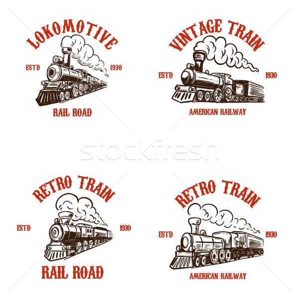 Ayarlamak amblem şablonları Retro trenler Stok fotoğraf © masay256