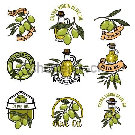 Extra virgin olive oil labels. Design element for label, emblem, Stock photo © masay256