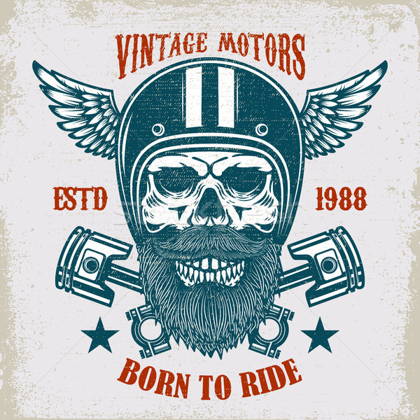 Vintage motors. Ride hard. Vintage racer skull in winged helmet illustration on grunge background. D Stock photo © masay256