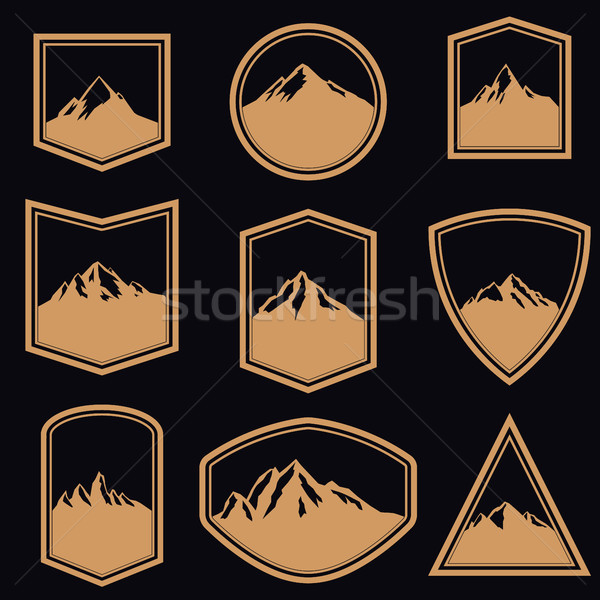 Ayarlamak boş rozetler dağlar altın stil Stok fotoğraf © masay256