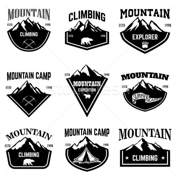 Dağ kamp amblem şablonları logo Stok fotoğraf © masay256