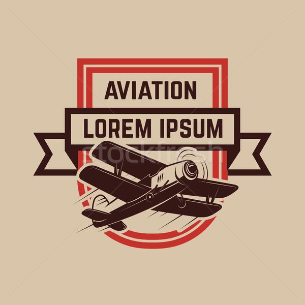 Légi közlekedés képzés központ embléma sablon retro Stock fotó © masay256