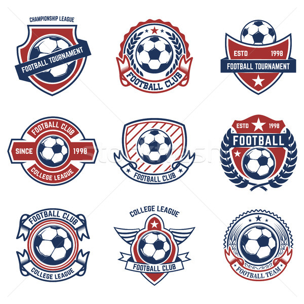 Ingesteld voetbal voetbal logo label Stockfoto © masay256