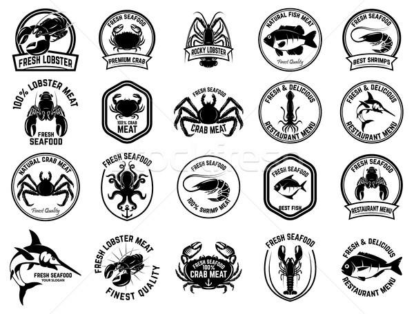 Ayarlamak deniz ürünleri pazar logo etiket Stok fotoğraf © masay256