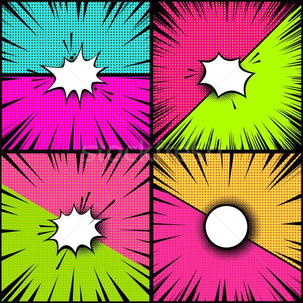 Ayarlamak komik stil arka pop art Stok fotoğraf © masay256