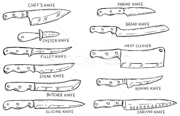 Set of hand drawn kitchen knives . Design element for poster, card, banner, menu.  Stock photo © masay256
