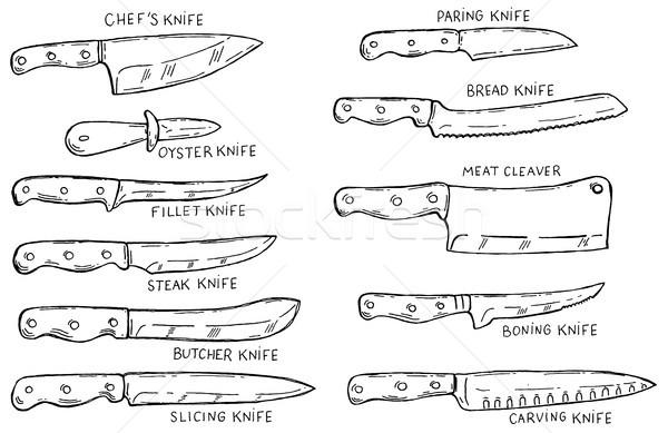 Ayarlamak mutfak bıçaklar poster Stok fotoğraf © masay256