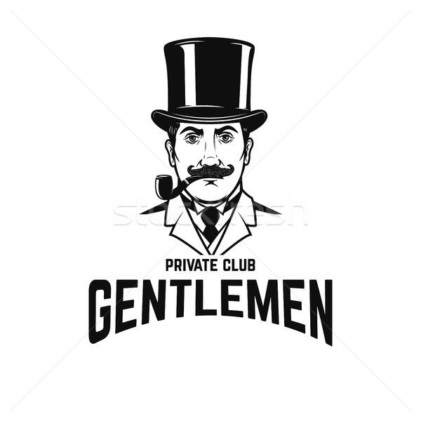 Heren club gentleman retro hoed roken Stockfoto © masay256