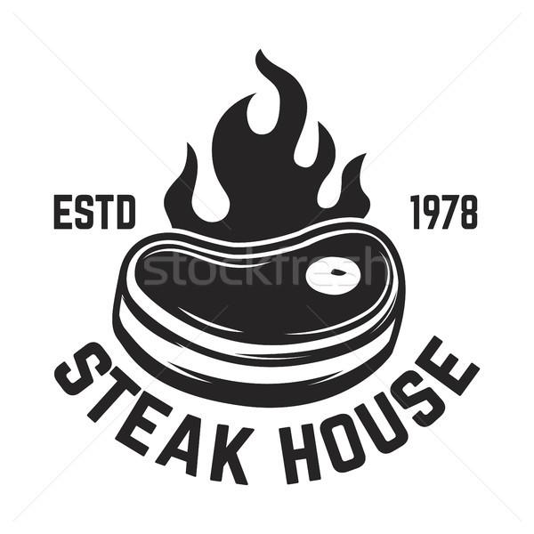 Biefstuk huis vlees logo label Stockfoto © masay256