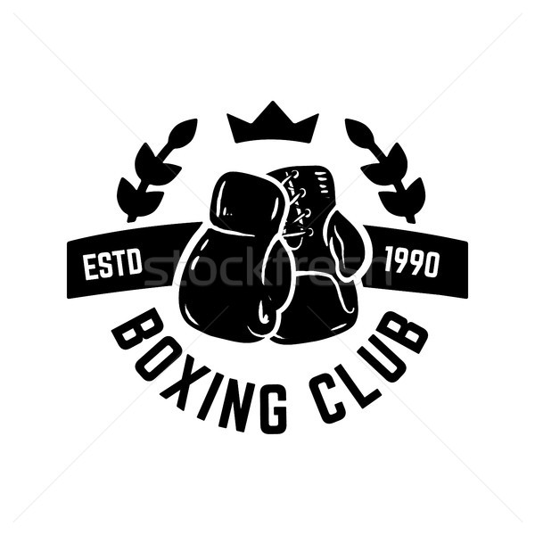 Champion boxing club. Emblem template with boxer gloves. Design element for logo, label, emblem, sig Stock photo © masay256