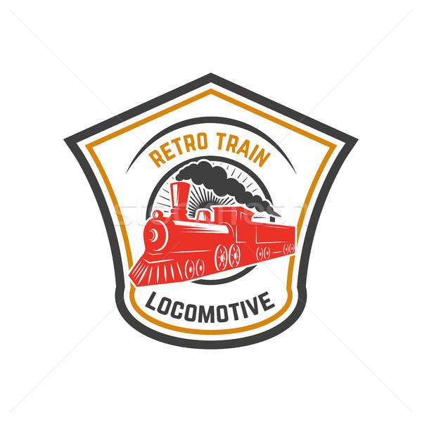 Emblema plantilla retro tren rail carretera Foto stock © masay256